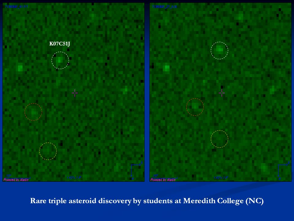 Rare triple asteroid discovery by students at Meredith College (NC)
