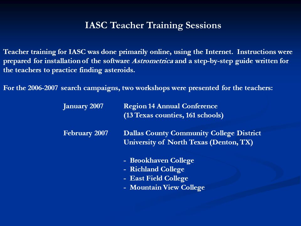 IASC Teacher Training Sessions