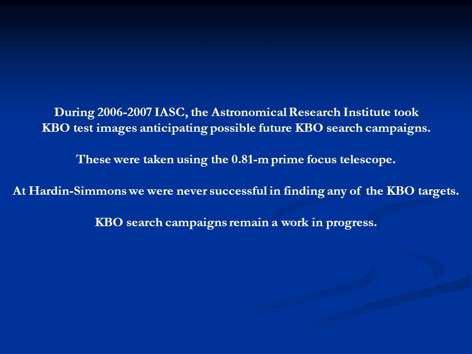 During 2006-2007 IASC, the Astronomical Research Institute took