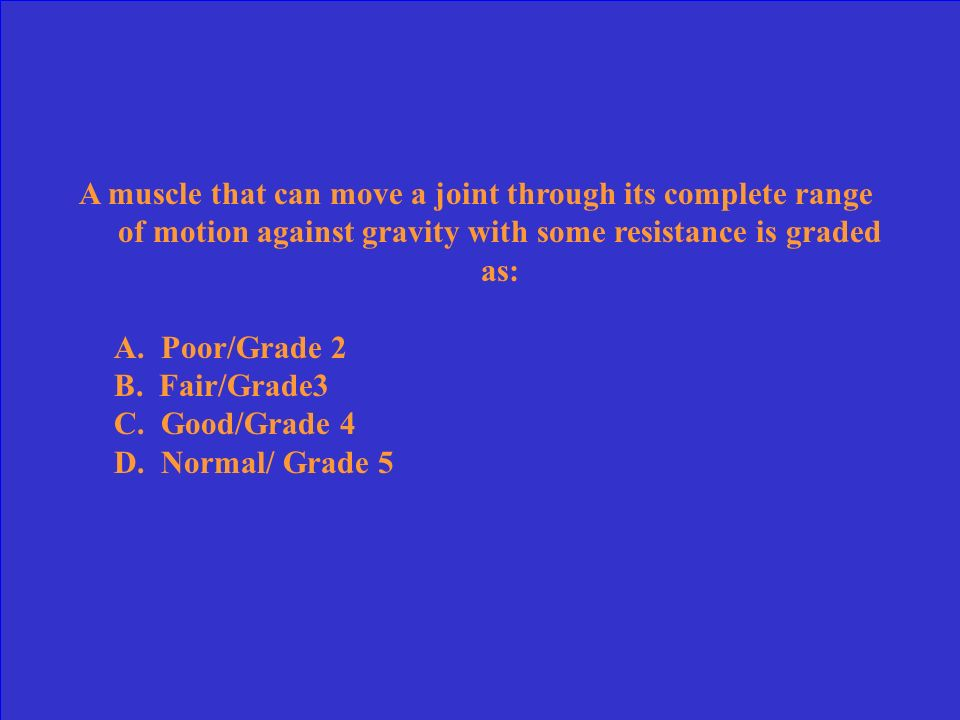A muscle that can move a joint through its complete range of motion against gravity with some resistance is graded as: