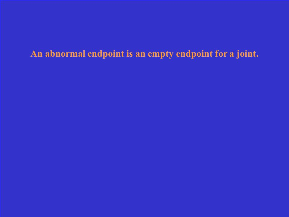An abnormal endpoint is an empty endpoint for a joint.