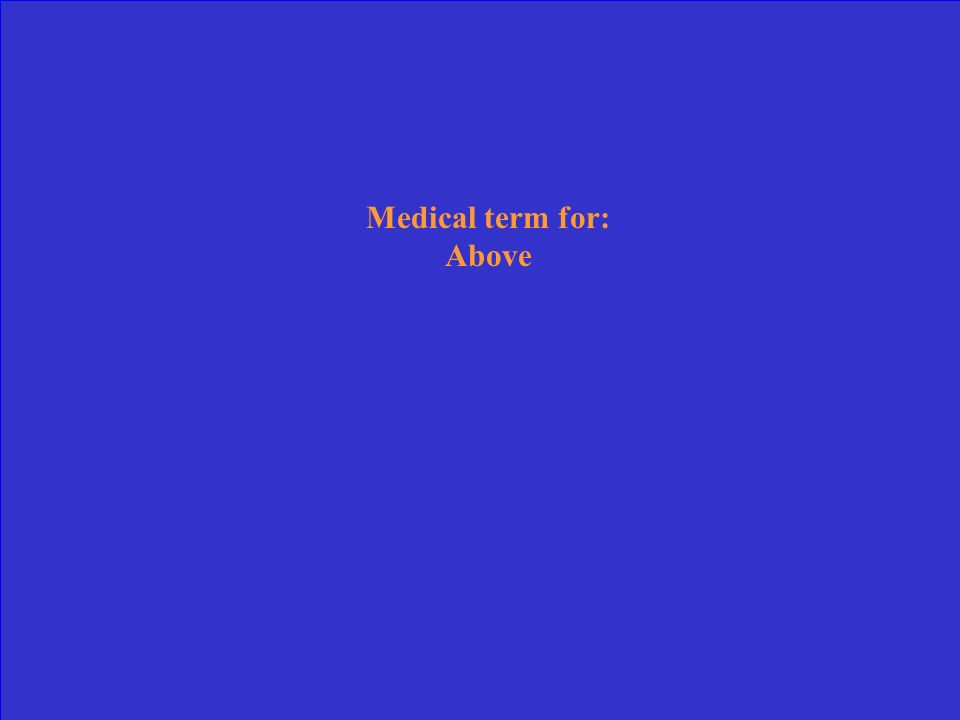 Medical term for: Above