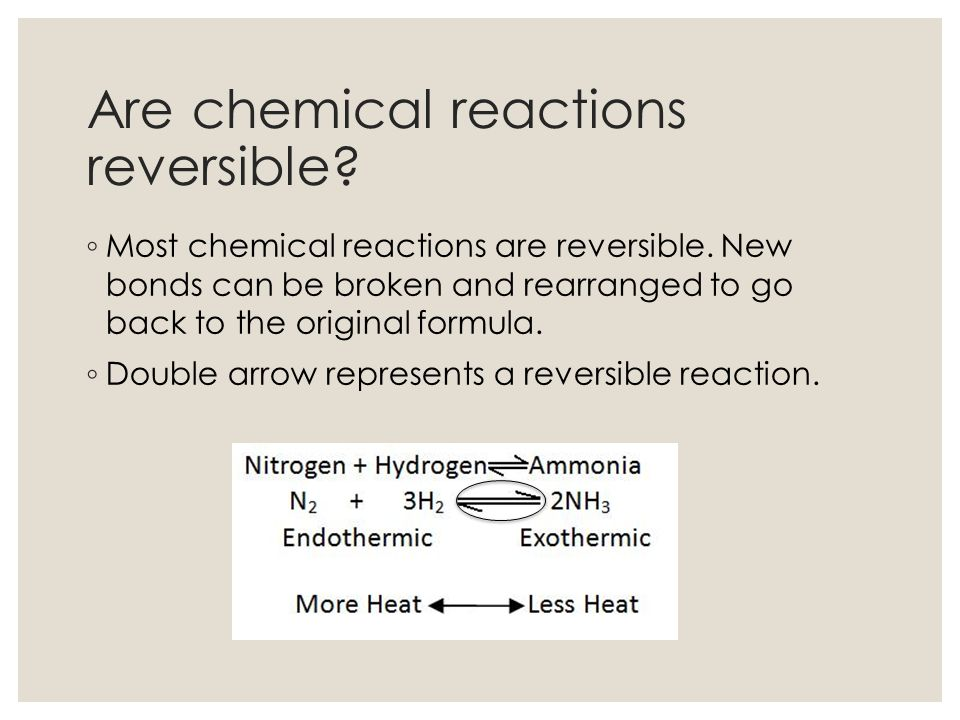 Are chemical reactions reversible