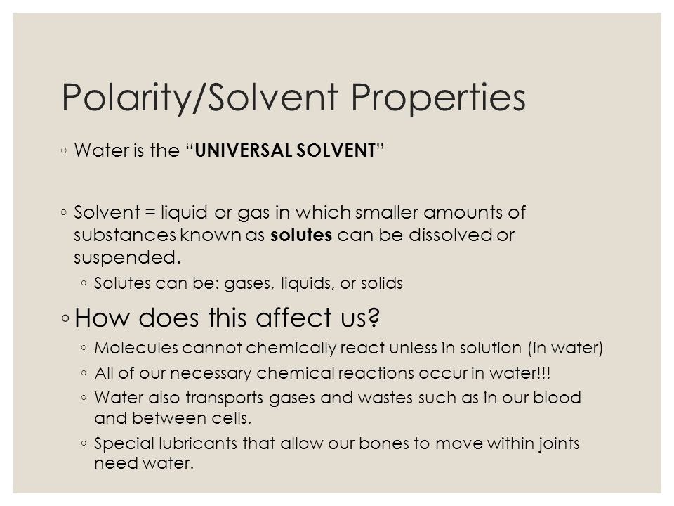 Polarity/Solvent Properties