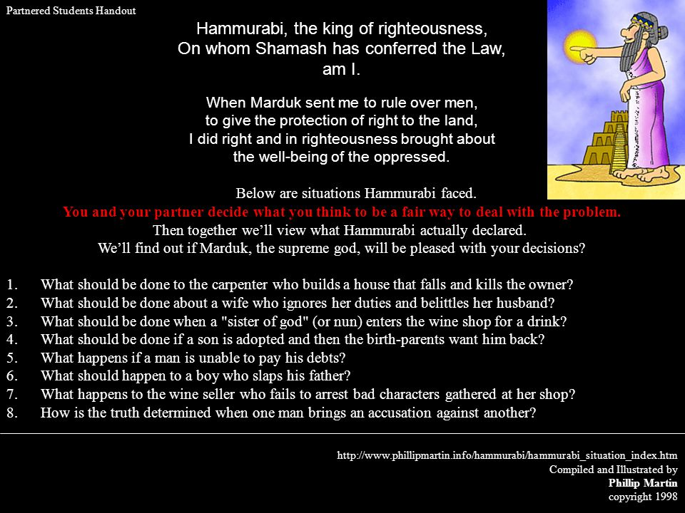 Hammurabi, the king of righteousness,