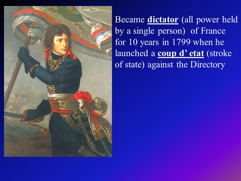 Became dictator (all power held by a single person) of France for 10 years in 1799 when he launched a coup d' etat (stroke of state) against the Directory