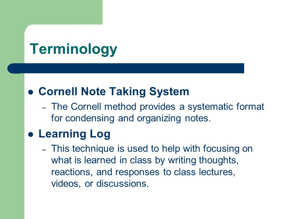 Terminology Cornell Note Taking System Learning Log
