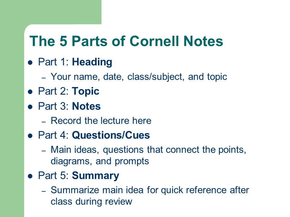 The 5 Parts of Cornell Notes