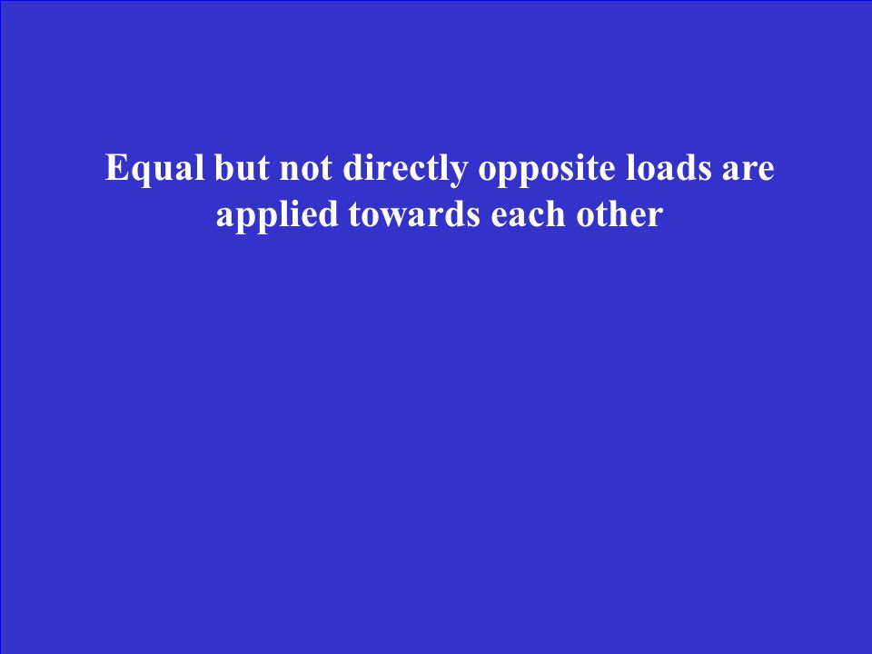 Equal but not directly opposite loads are applied towards each other
