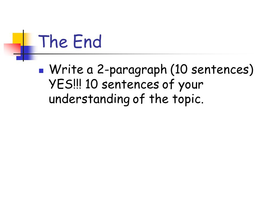 The End Write a 2-paragraph (10 sentences) YES!!! 10 sentences of your understanding of the topic.