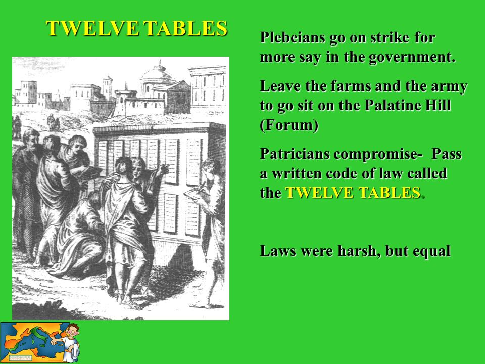 TWELVE TABLES Plebeians go on strike for more say in the government.