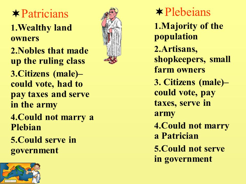 Plebeians Patricians Majority of the population Wealthy land owners