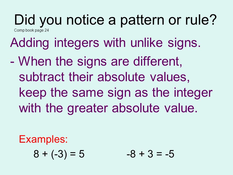 Did you notice a pattern or rule Comp book page 24