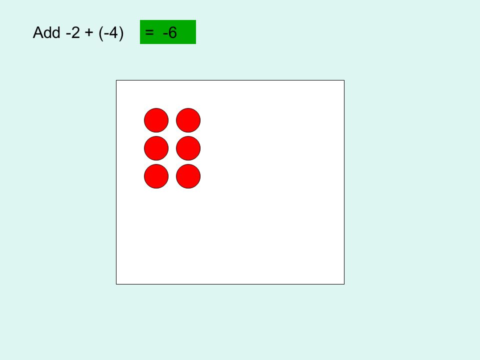 Add -2 + (-4) = -6