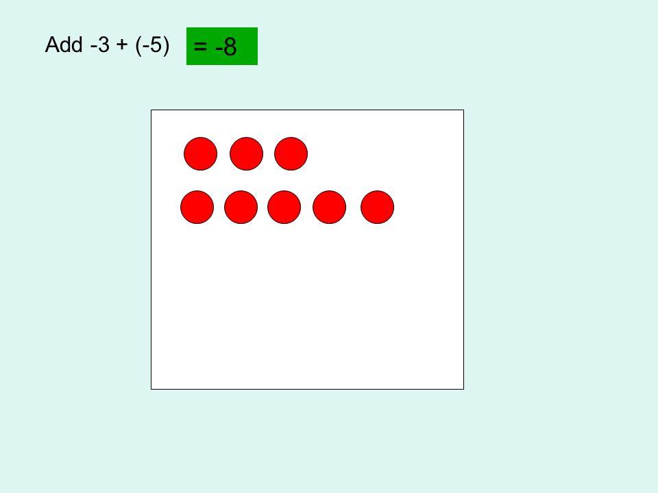 Add -3 + (-5) = -8