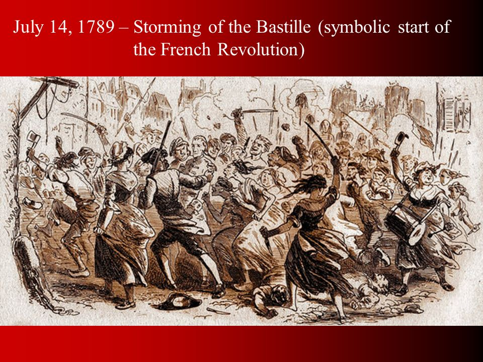 July 14, 1789 – Storming of the Bastille (symbolic start of