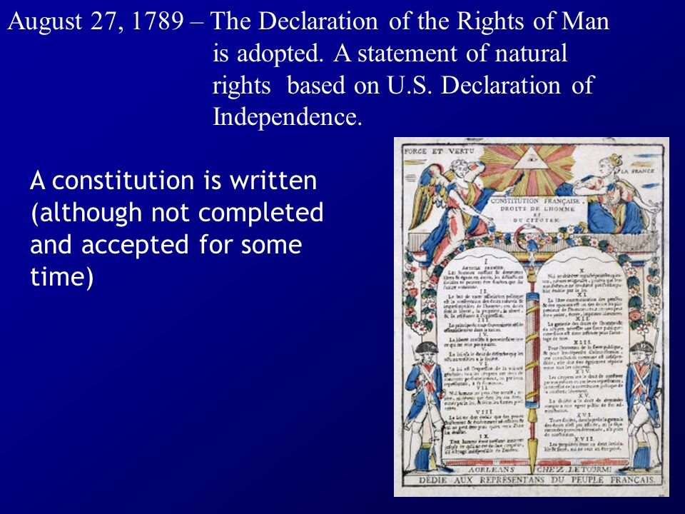 August 27, 1789 – The Declaration of the Rights of Man. is adopted