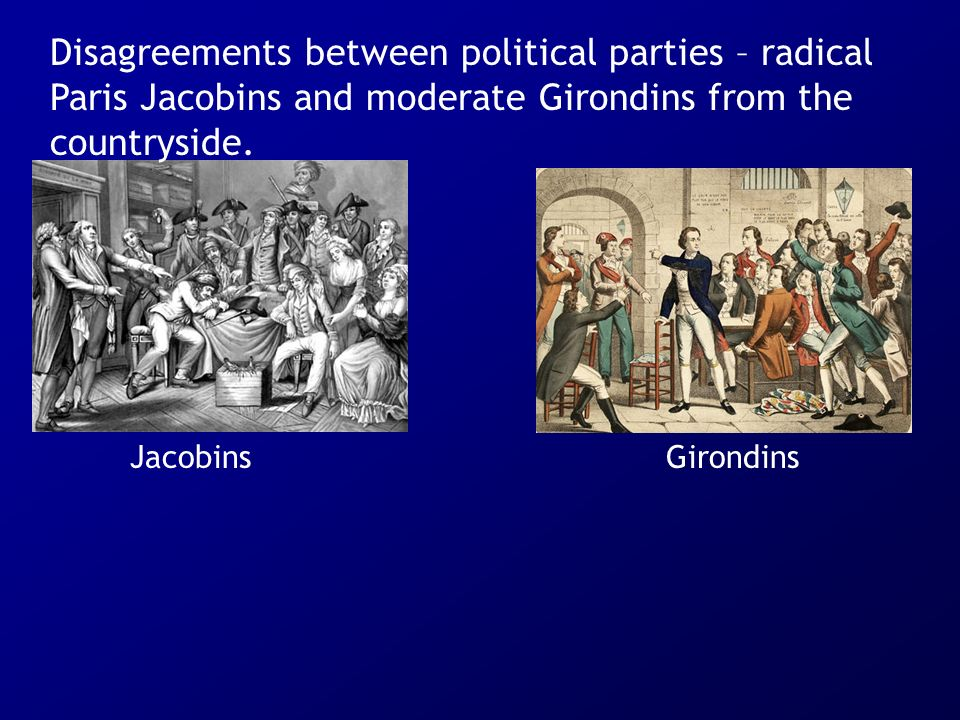 Disagreements between political parties – radical Paris Jacobins and moderate Girondins from the countryside.