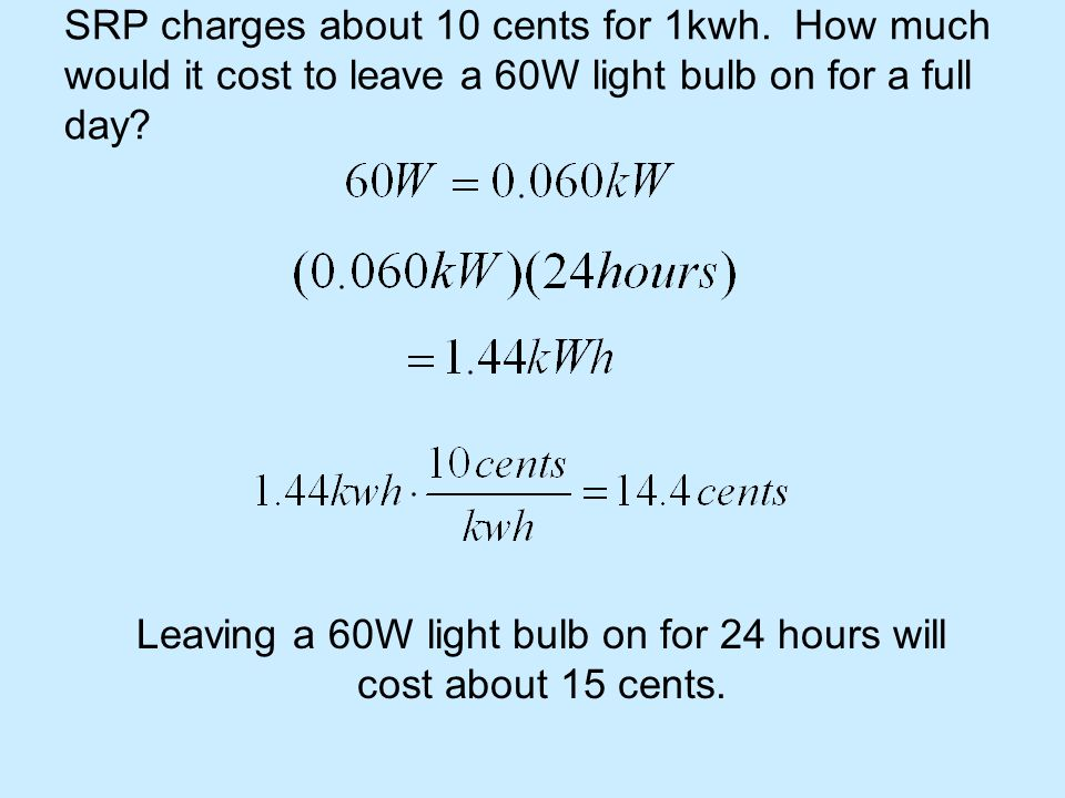 Leaving a 60W light bulb on for 24 hours will cost about 15 cents.