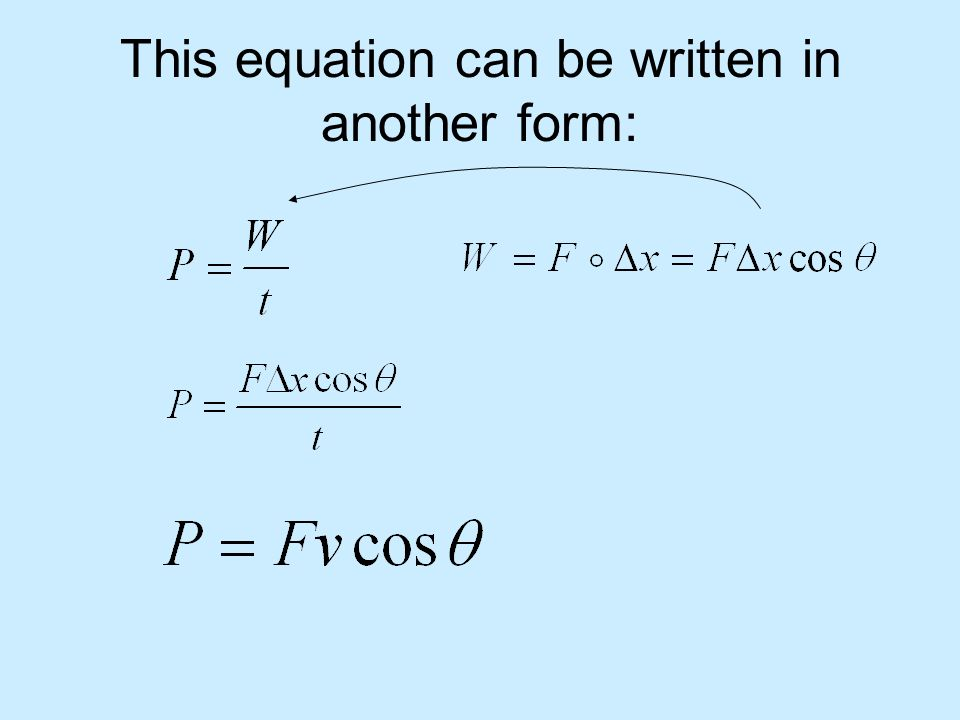 This equation can be written in another form: