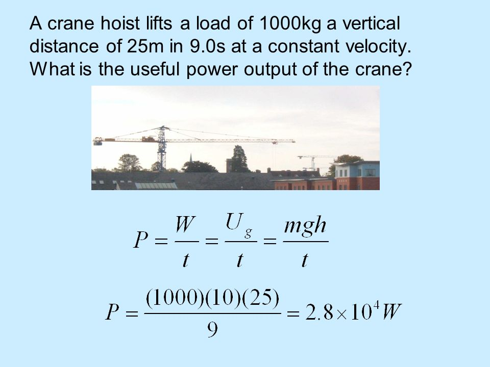 A crane hoist lifts a load of 1000kg a vertical distance of 25m in 9