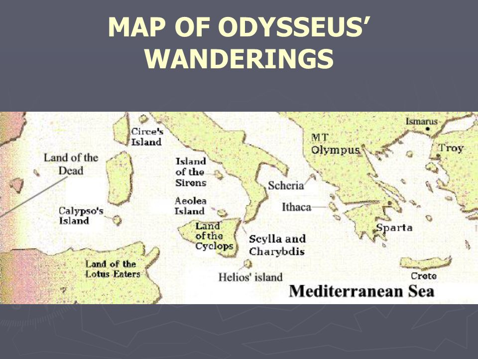MAP OF ODYSSEUS' WANDERINGS
