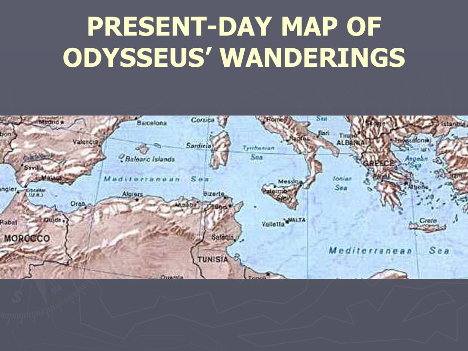 PRESENT-DAY MAP OF ODYSSEUS' WANDERINGS