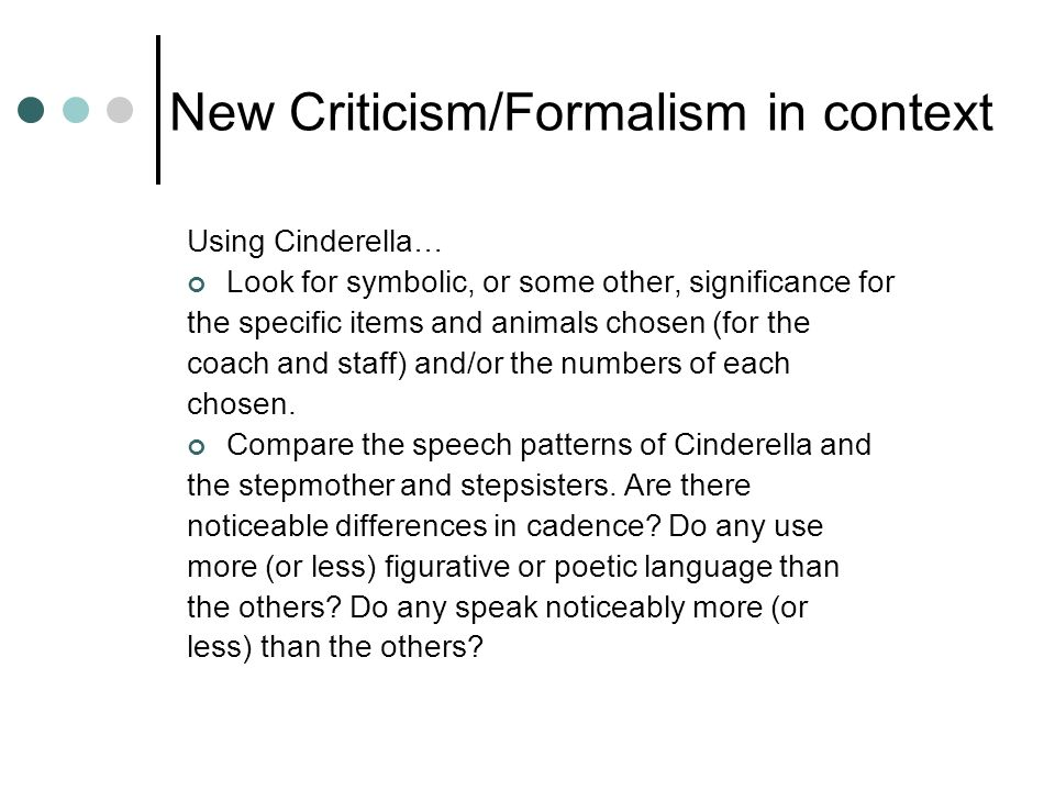 New Criticism/Formalism in context