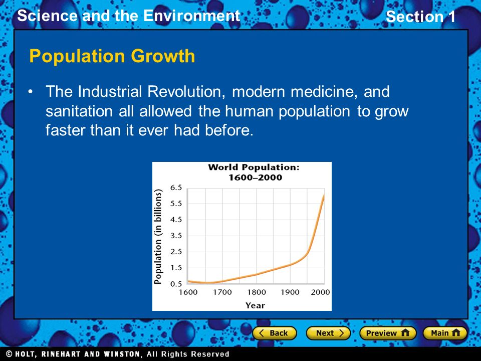 Population Growth The Industrial Revolution, modern medicine, and sanitation all allowed the human population to grow faster than it ever had before.