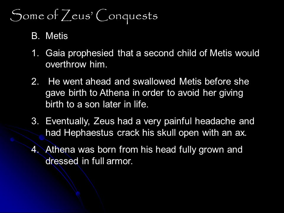 Some of Zeus' Conquests