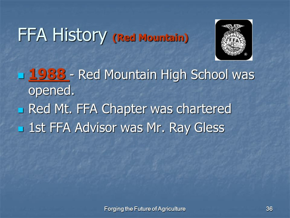 FFA History (Red Mountain)