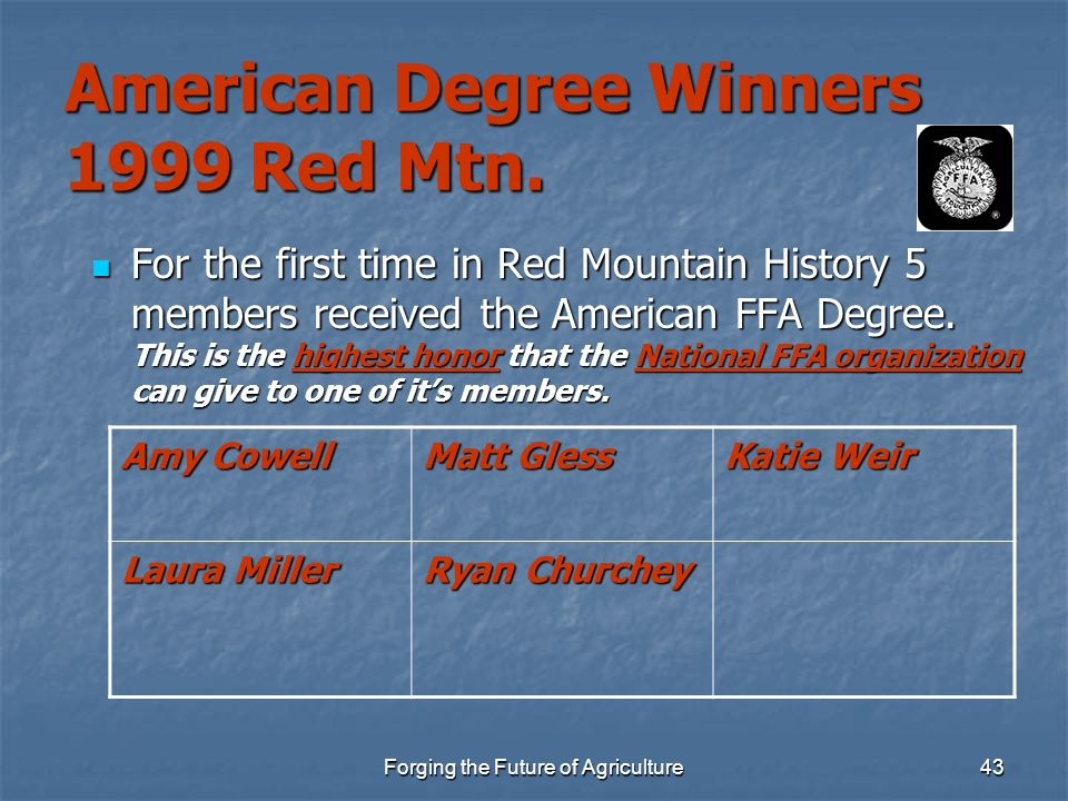 American Degree Winners 1999 Red Mtn.