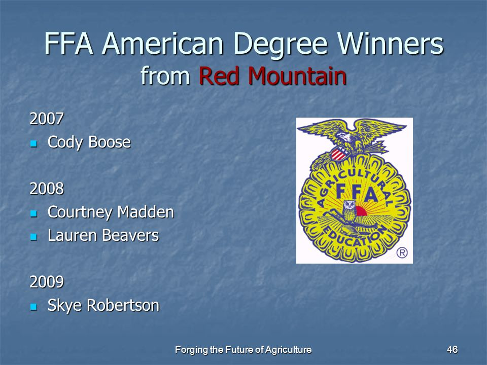 FFA American Degree Winners from Red Mountain