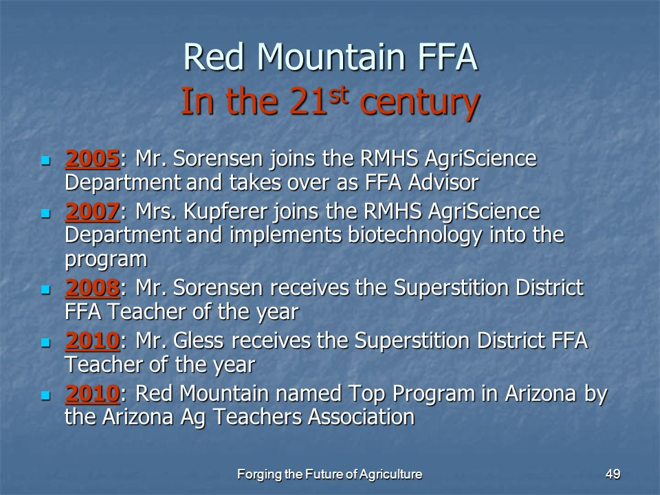 Red Mountain FFA In the 21st century