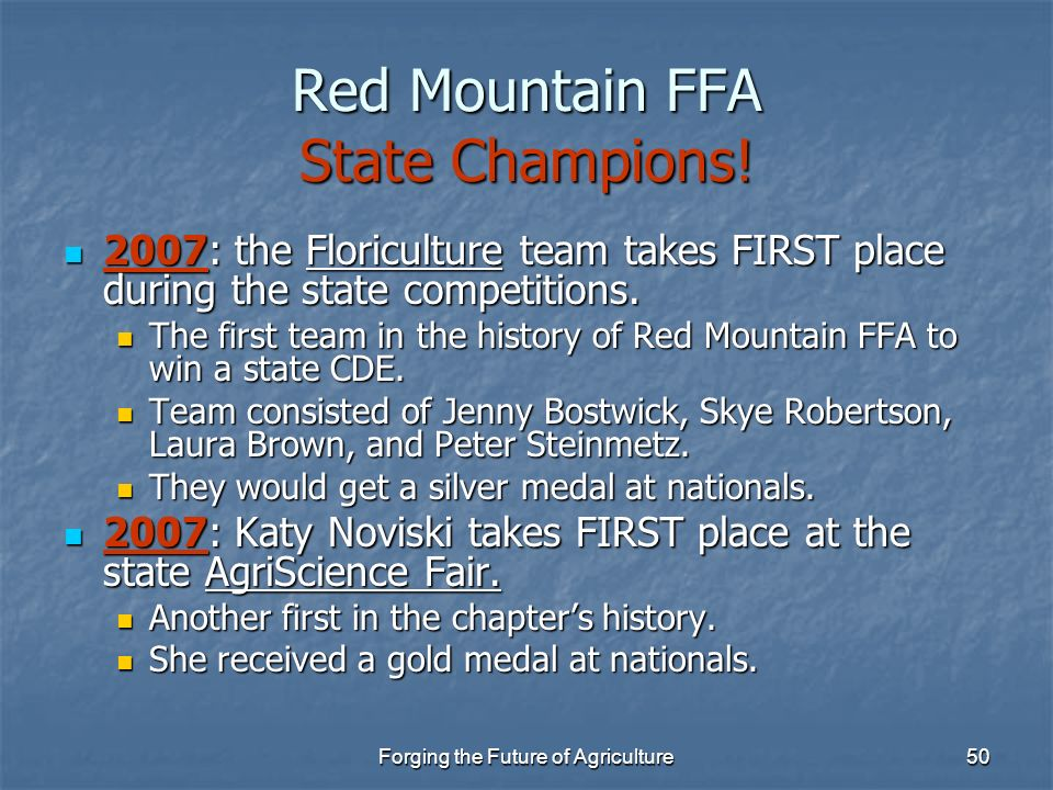 Red Mountain FFA State Champions!