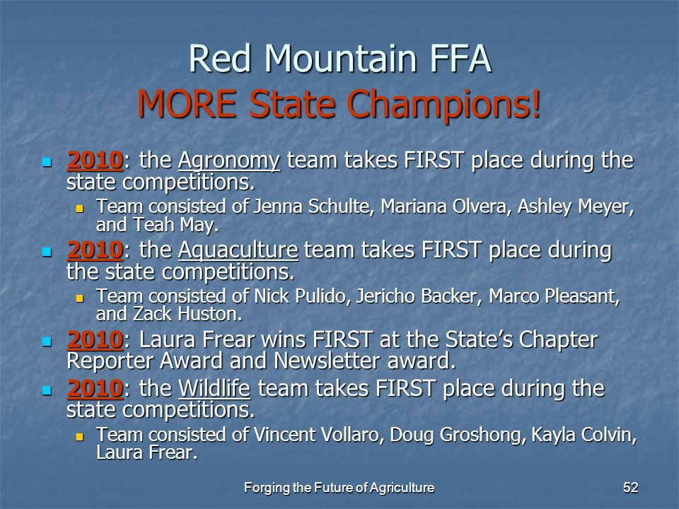 Red Mountain FFA MORE State Champions!