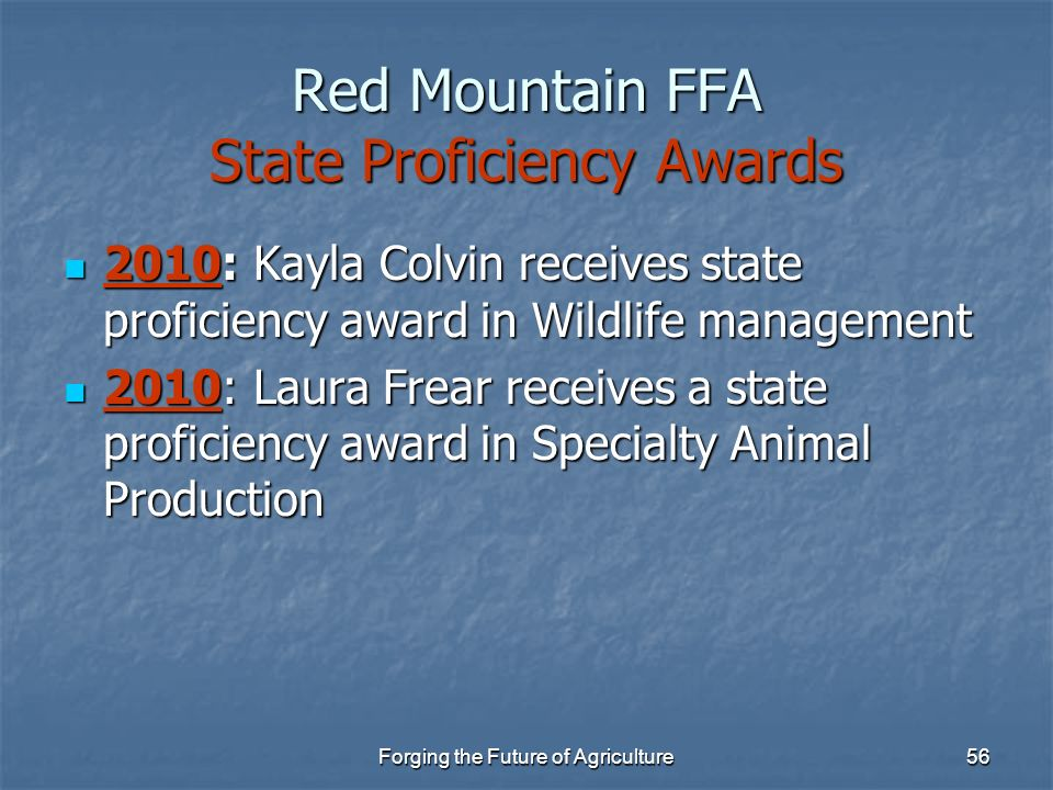 Red Mountain FFA State Proficiency Awards
