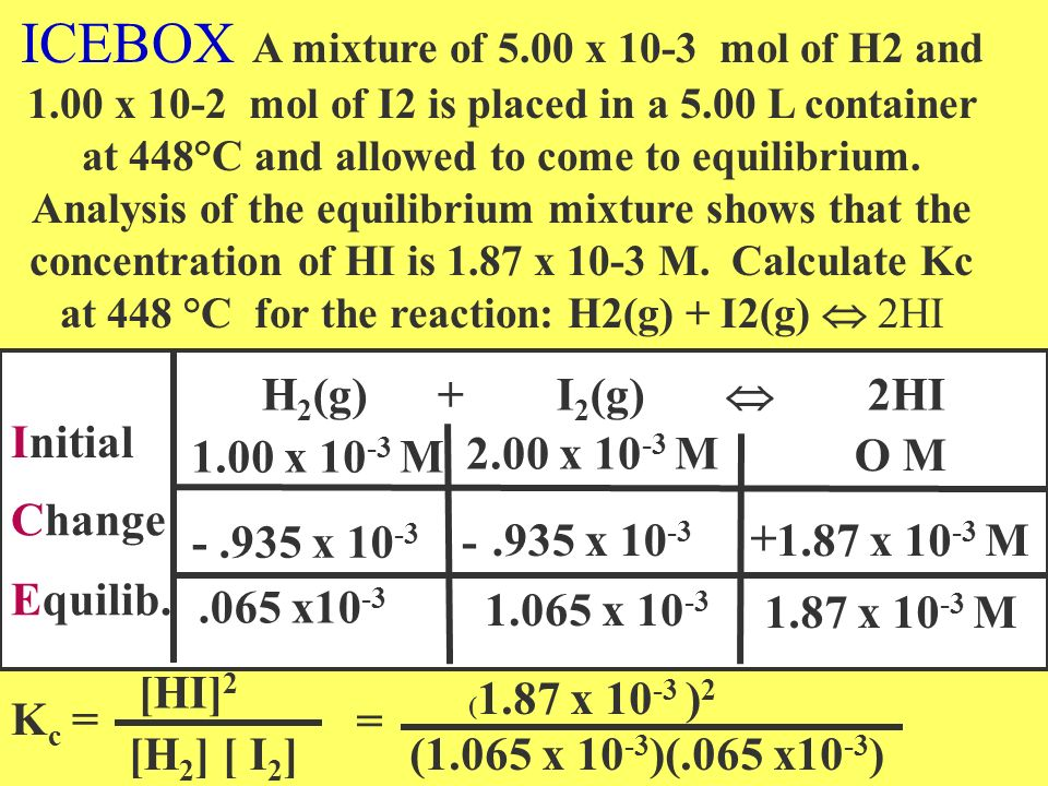 ICEBOX A mixture of 5. 00 x 10-3 mol of H2 and 1