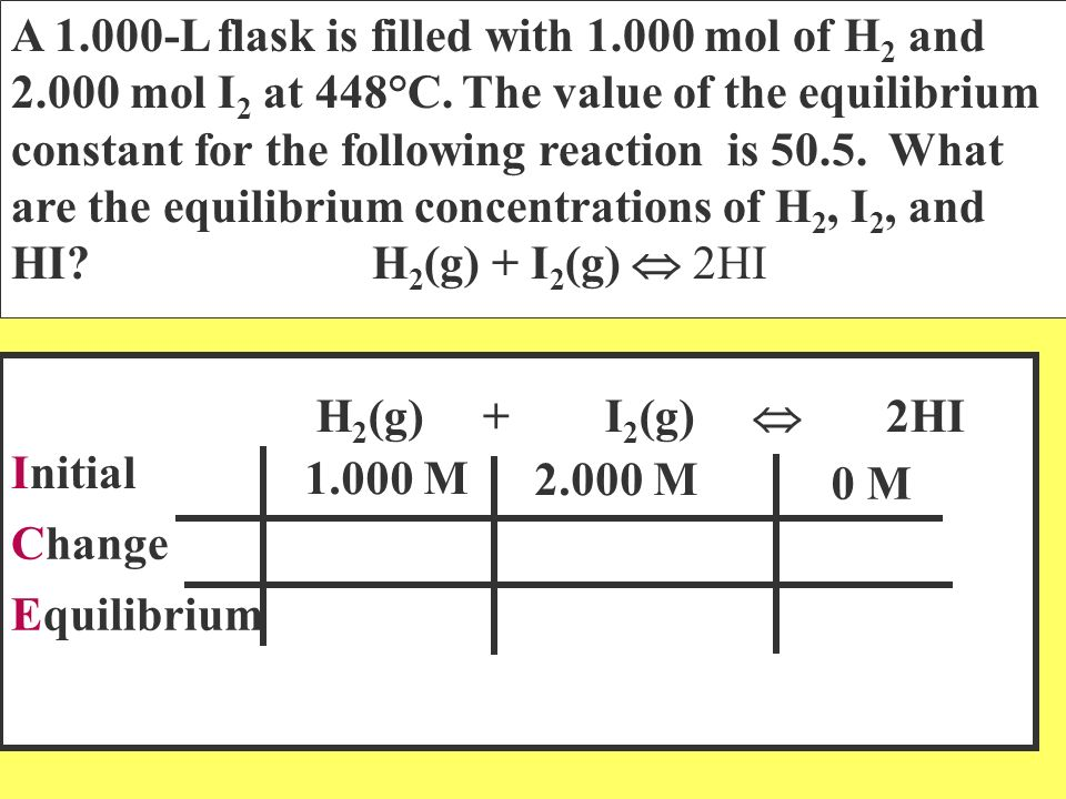 A 1. 000-L flask is filled with 1. 000 mol of H2 and 2