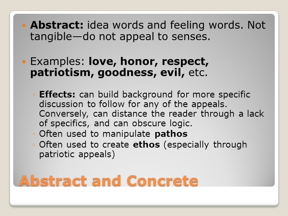 Abstract: idea words and feeling words