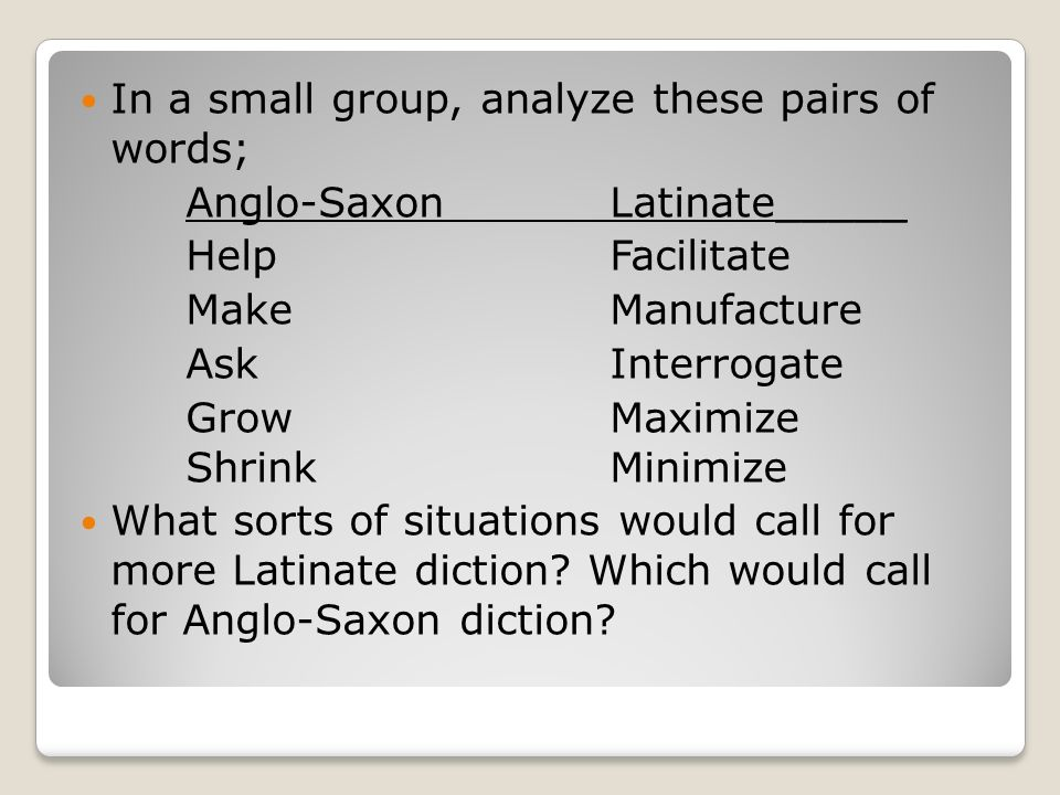 In a small group, analyze these pairs of words;