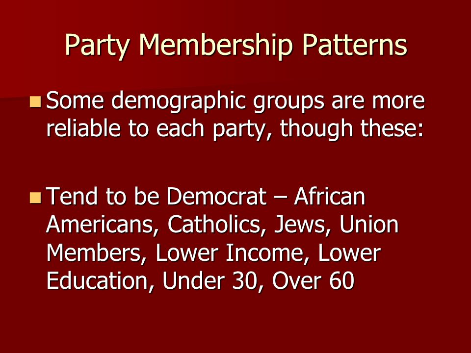 Party Membership Patterns