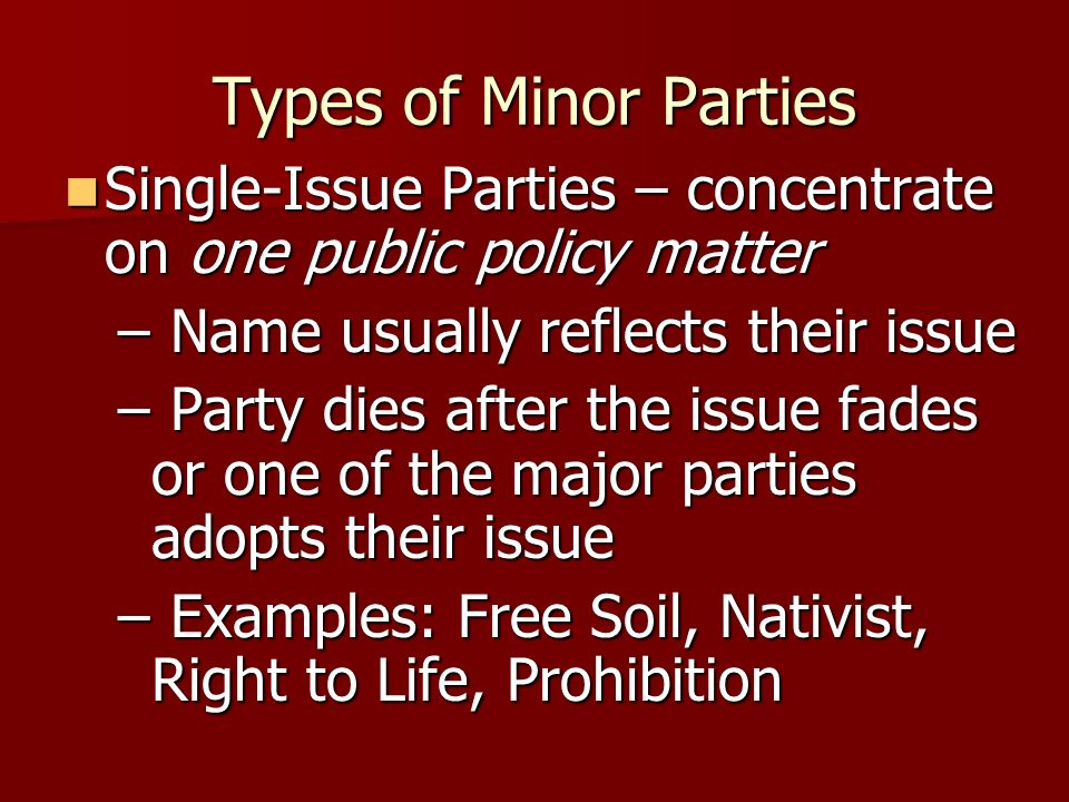 Types of Minor PartiesSingle-Issue Parties – concentrate on one public policy matter. Name usually reflects their issue.