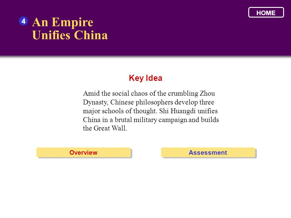 An Empire Unifies China Key Idea 4
