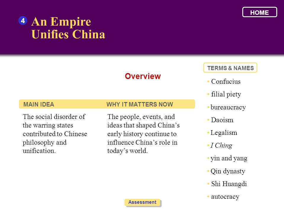 An Empire Unifies China Overview 4 • Confucius • filial piety