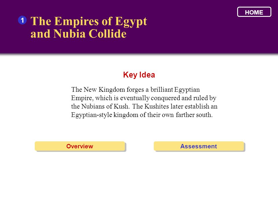 The Empires of Egypt and Nubia Collide Key Idea 1