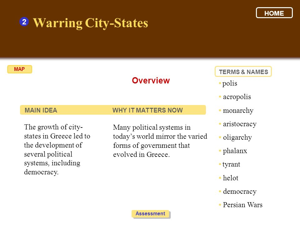Warring City-States Overview 2 • polis • acropolis • monarchy