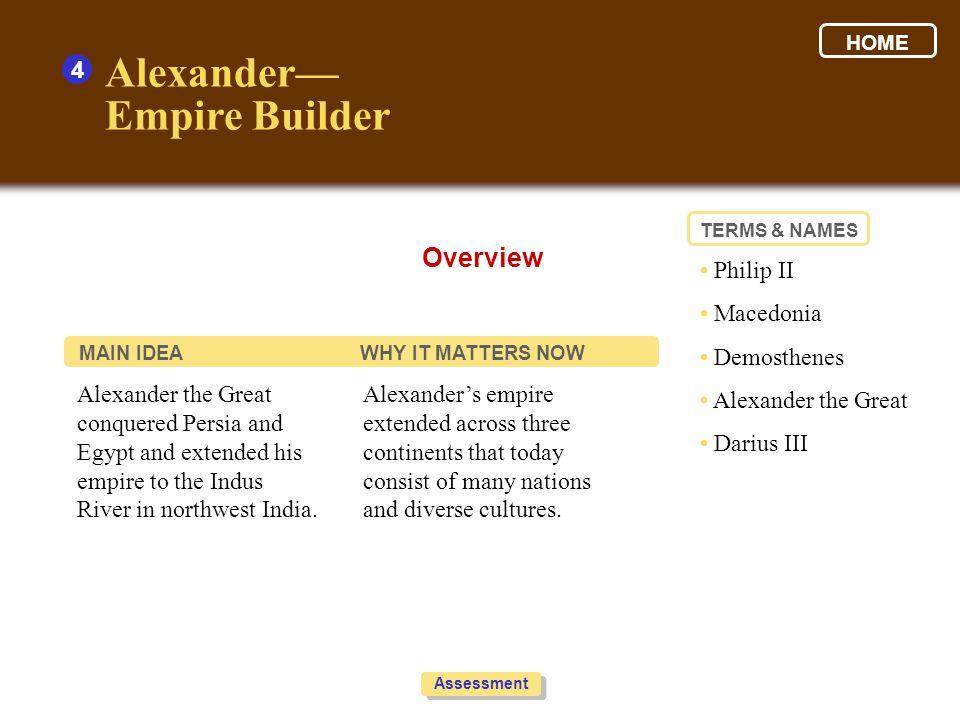 Alexander— Empire Builder Overview 4 • Philip II • Macedonia