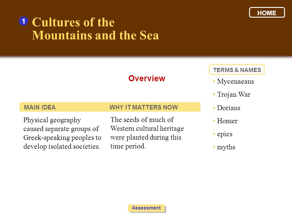 Cultures of the Mountains and the Sea Overview 1 • Mycenaeans