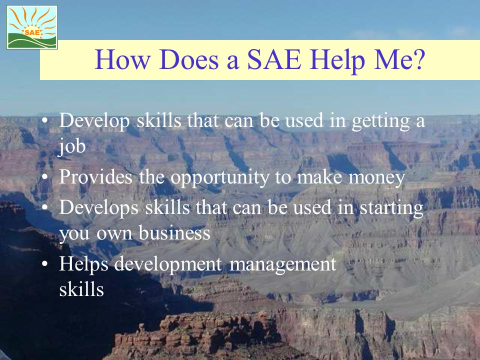 How Does a SAE Help Me Develop skills that can be used in getting a job. Provides the opportunity to make money.